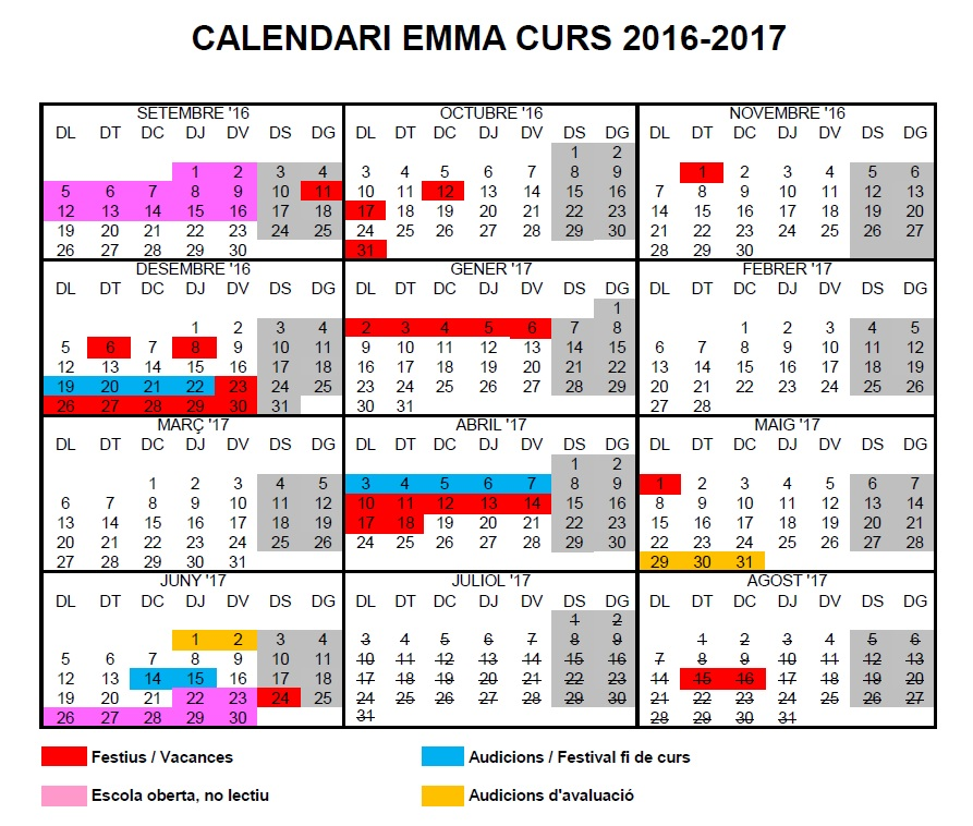 Calendari 2016-2017